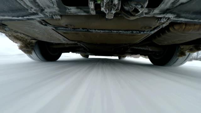 Camera below car in winter video