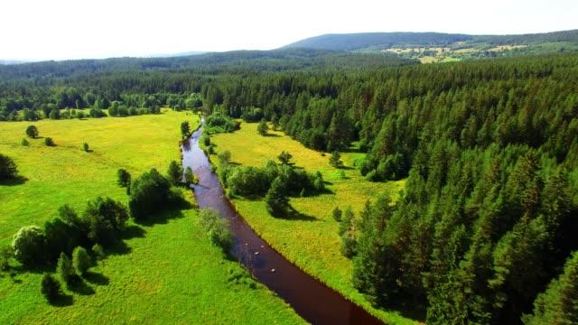 国立公園スマヴァの金を持つ川クレメルナ上空のカメラ飛行。ハイキングのための素晴らしい目的地。チェコ共和国、中央ヨーロッパの山々。 - チェコ共和国点の映像素材/bロール