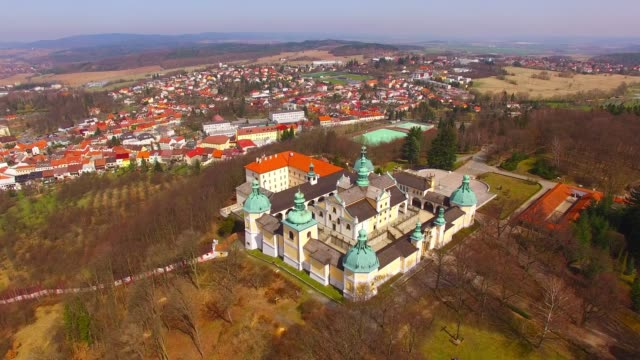 camera flight over the chapel on svata hora (holy mountain). oldest and most important marian place of pilgrimage in the central europe. early renaissance landmark near pribram in czech republic. - ferragosto video stock e b–roll