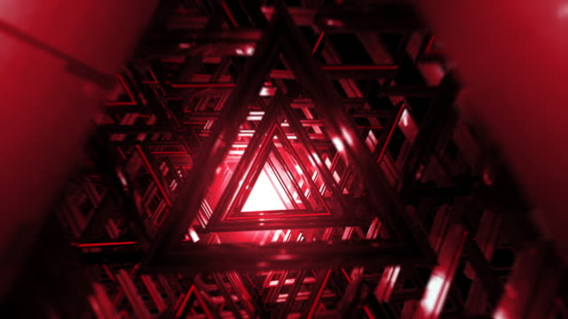 Camera flying through abstract futuristic triangle 3D corridor