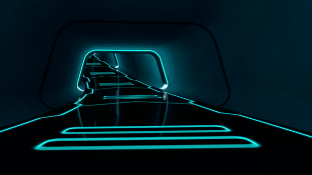 camera fly-through a futuristic tunnel with glowing neon lines - tron sci fi bildbanksvideor och videomaterial från bakom kulisserna