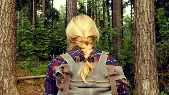 camera follows the traveler's girl's back along the forest. - woman portrait forest video stock e b–roll