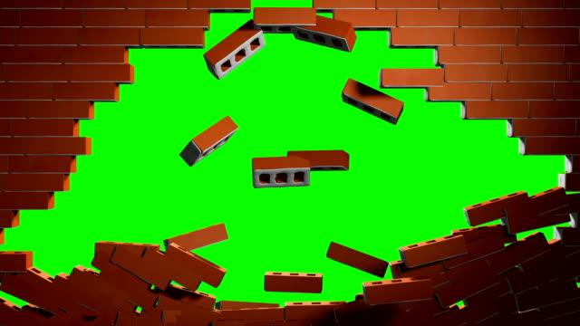 Camera going through a crashing brick wall