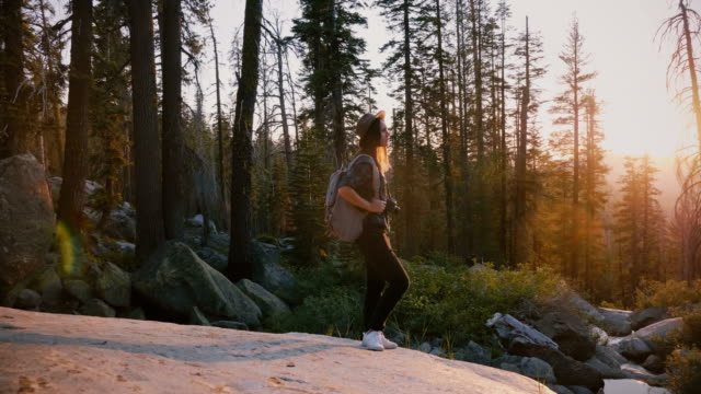camera moves around excited tourist girl standing on big rock in deep woods of yosemite on incredible sunset slow motion - дикая растительность стоковые видео и кадры b-roll