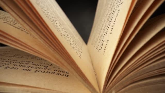 kamera bewegt sich innerhalb des buches. lesebuch in der bibliothek. altes buch schwankt im wind. slider-aufnahme mit sondenlinse - überprüfung stock-videos und b-roll-filmmaterial