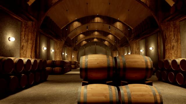 vídeos de stock e filmes b-roll de câmara paning num estabelecimento vinícola armazém - barrica