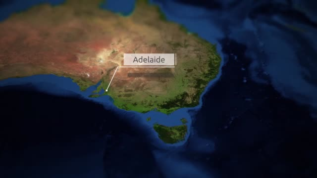 Map Of Australia Video.Camera Pans Over Map Of Australia With Indicator Adelaide Stock
