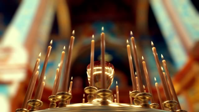 Camera rotation around Candle on Candlestick Holder in Church