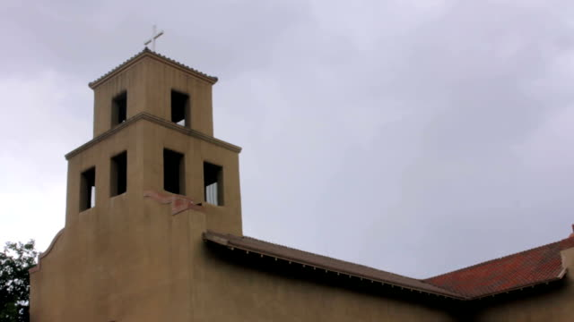 Camera Tilt to Reveal a Historic Adobe Catholic Church video
