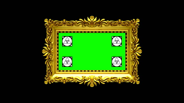 Camera zoom into the gold picture frame on black background. Motion tracking markers and green screen included. 3D animation. video