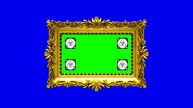 Camera zoom into the gold picture frame on blue background. Motion tracking markers and green screen included. 3D animation. Camera zoom into the gold picture frame on blue background, motion tracking markers, green screen renaissance architecture stock videos & royalty-free footage