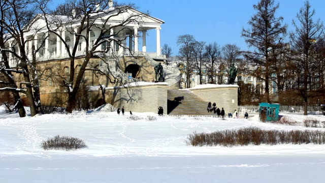 Cameron Gallery and people in Pushkin city, St. Petersburg, Russia video