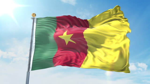 Cameroon flag waving in the wind against deep blue sky. National theme, international concept. 3D Render Seamless Loop 4K Cameroon flag waving in the wind against deep blue sky. National theme, international concept. 3D Render Seamless Loop 4K allegory painting stock videos & royalty-free footage
