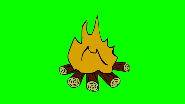 camp fire animated looped green screen, chroma key video