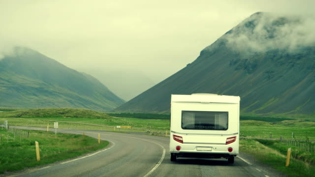 Camper van on the road. Icelandic trip Driver's POV. Exploring Iceland rv interior stock videos & royalty-free footage
