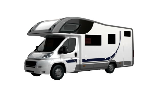 Camper Van spin isolated with luma matte video