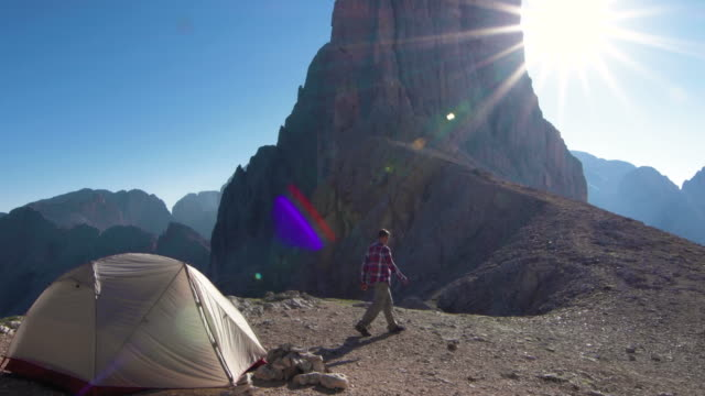 Camper wakes up to amazing mountain view