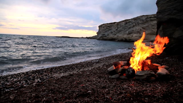 Campfire on the beach - video