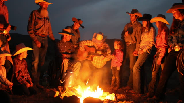 Campfire Singalong With Cowboys and Cowgirls at Night video