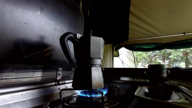 Camping coffee in a moka pot