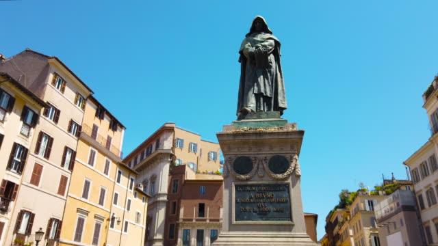 Campo De Fiori, Rome, Giordano Bruno Statue Campo De Fiori, Rome, Giordano Bruno Statue philosophy stock videos & royalty-free footage