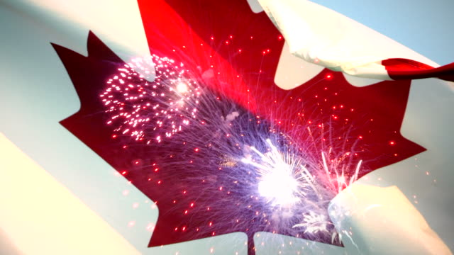 canada day fireworks flag background, canadian maple leaf symbol - canada day stock videos & royalty-free footage