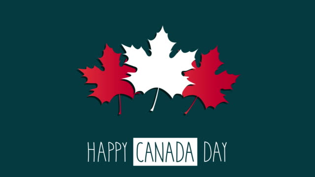 canada day with maple leaf. 4k animation. - canada day stock videos & royalty-free footage
