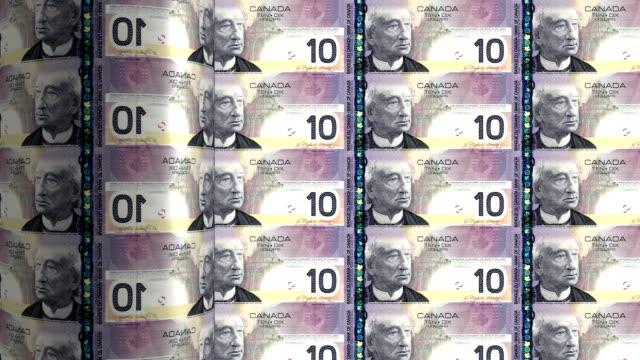 Canada dollar printing - animation Ten Canadian dollars printing out - animation inflation stock videos & royalty-free footage