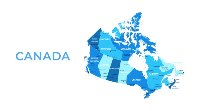Video Canada Map - Motion Graphic Cartoon Animation Footage. 4K Resolution Video. Transparency Alpha Channel Included. White Background