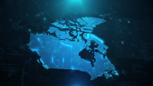 Canada map with regions against blue animated background 4k UHD