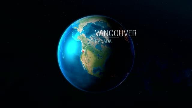 vídeos de stock e filmes b-roll de canada - vancouver - zooming from space to earth - vancouver