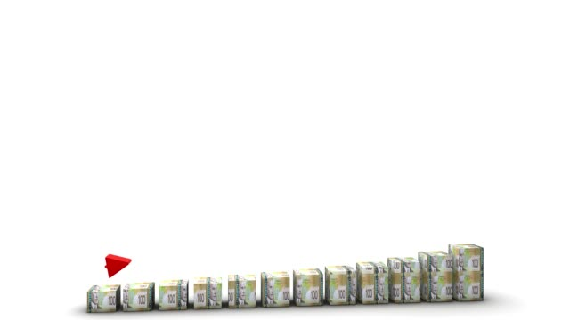 Canadian Dollar Bill Bars Graph Rising Bars made of 100 Canadian Dollar bills rising. Clean render on a white background. inflation stock videos & royalty-free footage