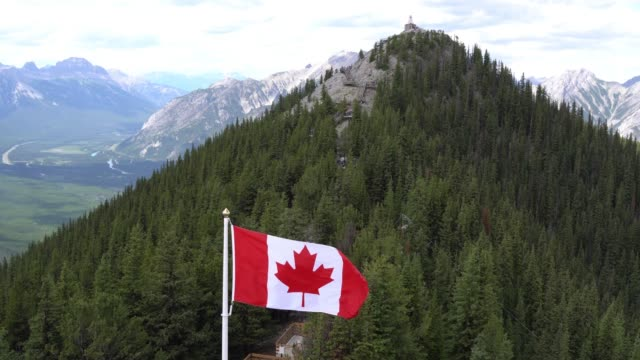 canadian flag flying on sulphur mountain park in front of boardwalk - canada day stock videos & royalty-free footage