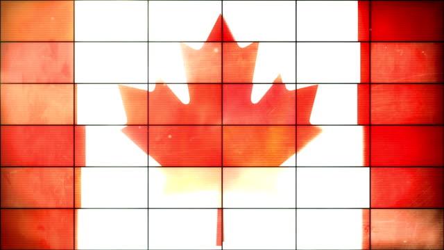 canadian flag - grid panel loop (full hd) - canada flag stock videos & royalty-free footage