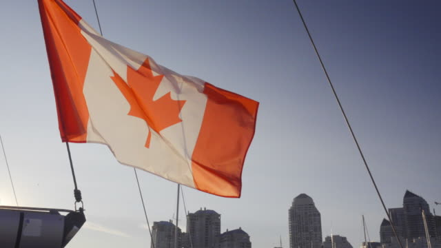 canadian flag on sailboat in summer on the lake ontario toronto - canada flag stock videos & royalty-free footage