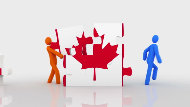 canadian flag puzzle. white background. - canada flag stock videos & royalty-free footage