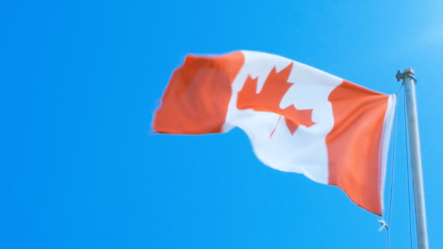 Canadian flag slowly fluttering in the wind video