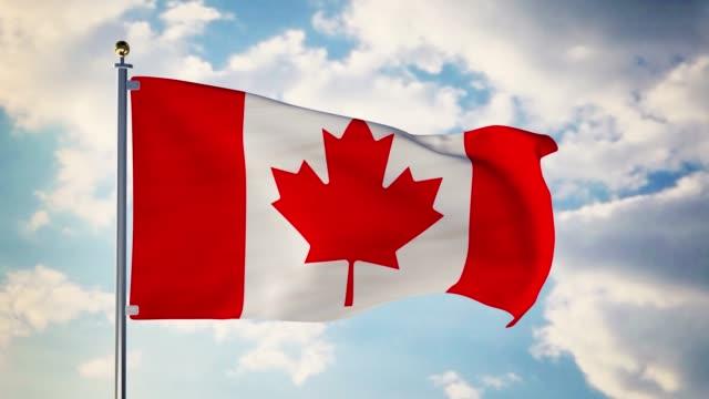 Canadian flag waving in the wind shows canada symbol of patriotism - 4k 3d render