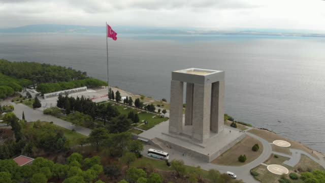 Canakkale Martyrs' Memorial, Rotating Aerial Shot by Drone The Canakkale Martyrs` Memorial is a war memorial commemorating the service of Turkish soldiers who participated at the Battle of Gallipoli, which took place from April 1915 to December 1915 during the First World War. mardin stock videos & royalty-free footage