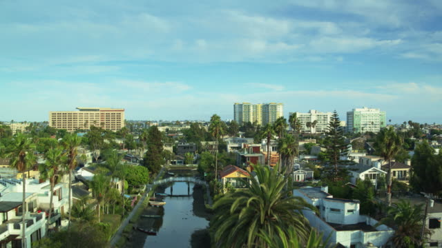 Canals and Streets in Venice, California - Drone Shot