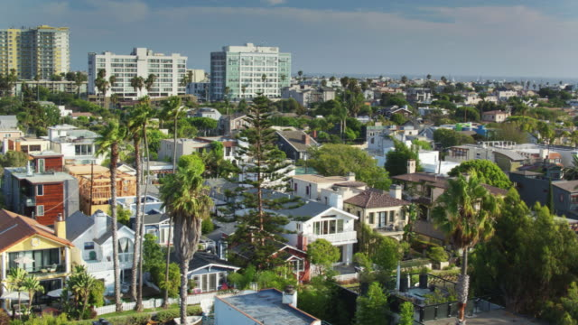 Canals and the Ocean in Venice, California - Panning Drone Shot