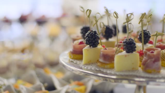 canapes on a plate - фуршет стоковые видео и кадры b-roll