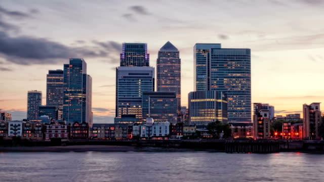 Canary Wharf at dusk, Famous skyscrapers of London financial district video