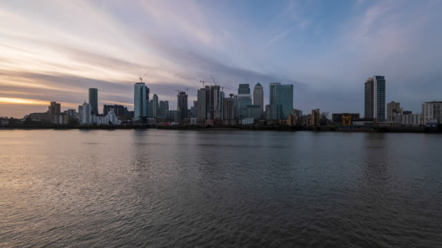 Canary Wharf - London Docklands business district at dusk