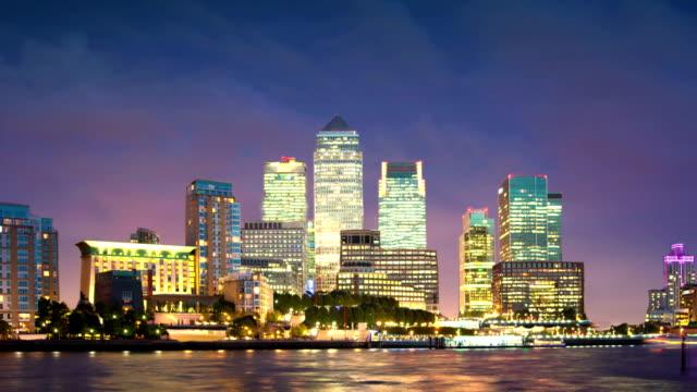 Canary Wharf night panorama. video