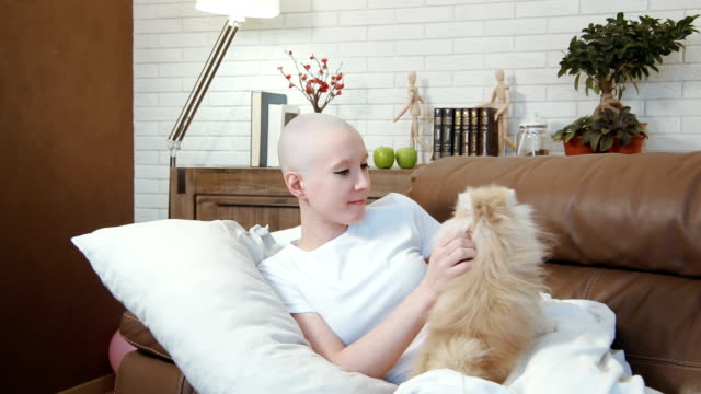 Cancer patient woman lying on the sofa and playing with a little cute dog Stock footage of Cancer patient woman lying on the sofa and playing with a little cute dog cancer illness stock videos & royalty-free footage