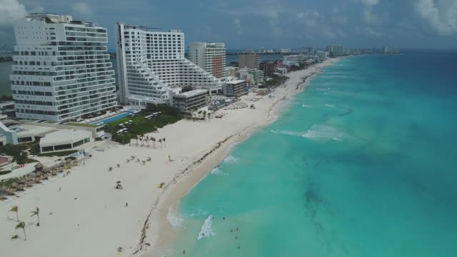 cancun aerial march - località turistica video stock e b–roll