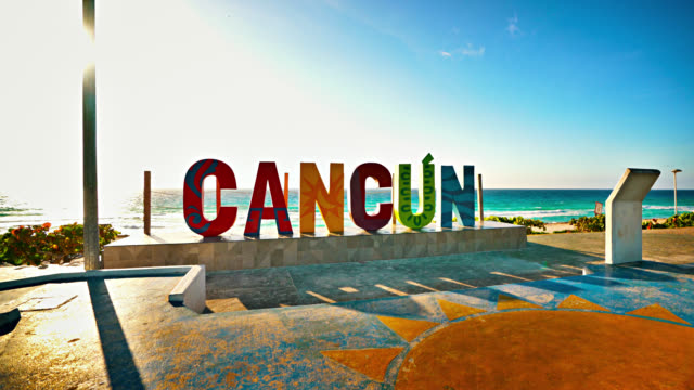 Cancun Sign. Mexico. Beach