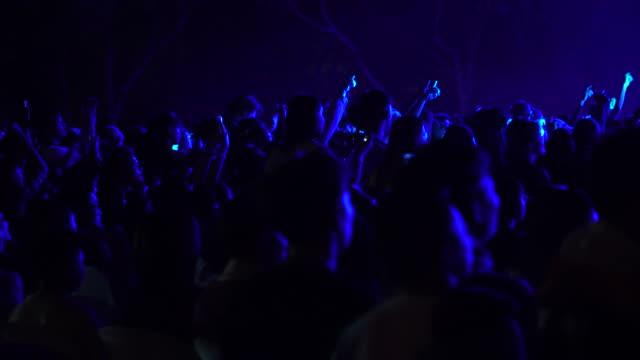 rock konserinde eğlenen kalabalığın samimi görüntüsü - dans müziği stok videoları ve detay görüntü çekimi