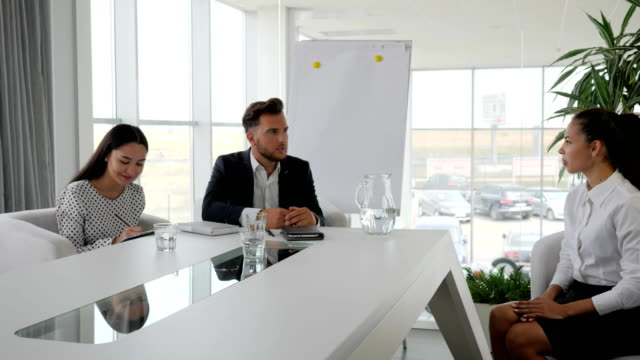 Candidate and interviewer discussing conclude of contract, Recruitment on Office work, boss with secretary video